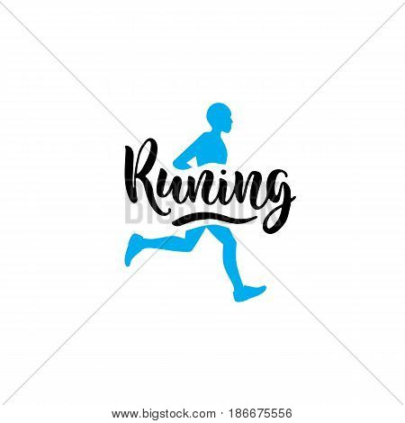 The logo on the theme of running and a healthy lifestyle, with letters written by hand. Flat vector illustration of running man with the words