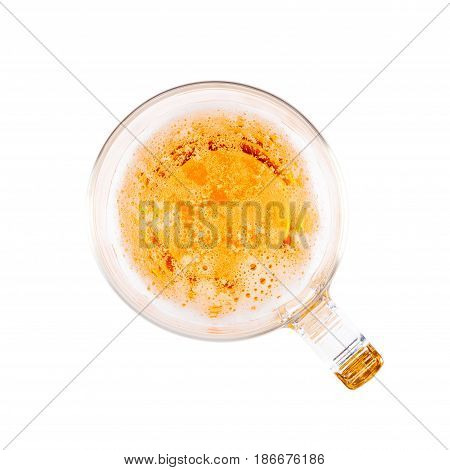 Glass Of Light Beer With Bubbles In Top View