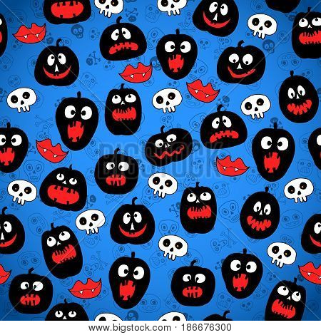 Halloween Pumpkin vector pattern in blue background