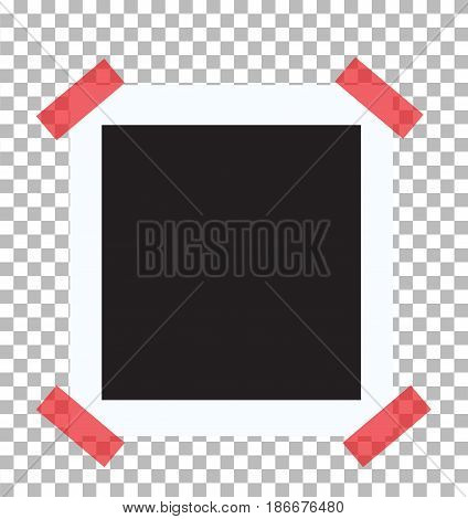 retro photo frame on red sticky tape pin on a transparent background. retro photo frame sign.