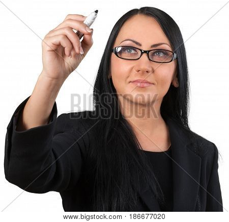 Woman caucasian female friendly writing dry erase marker office worker