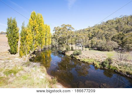 The Kosciusko National Park entrance crossing over the Thredbo River on a sunny autumn day in New South Wales, Australia