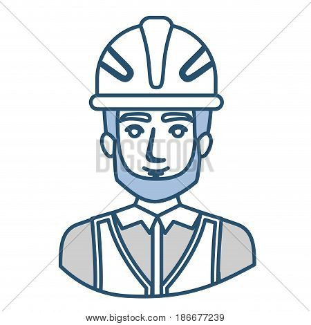 blue silhouette with half body of male bearded architect with helmet vector illustration