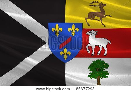 Flag of Rambouillet is a commune in the Yvelines department in the Ile-de-France in north-central France. 3d illustration