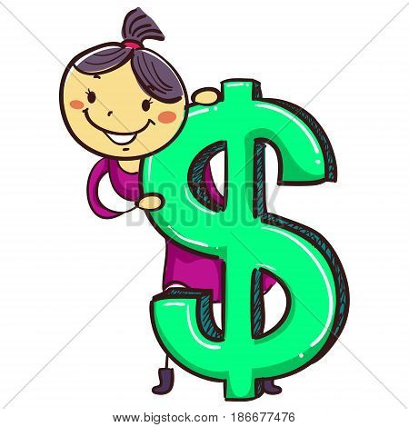 Vector Illustration of Stick Girl Kid with Big Dollar Sign