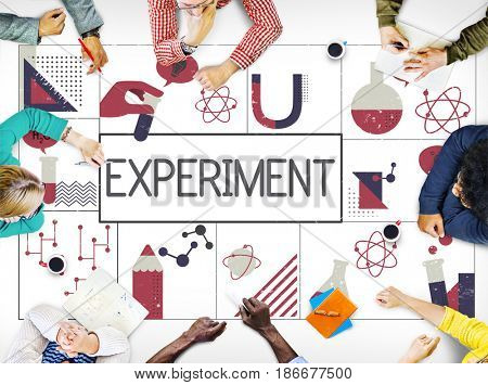 Group of people study biochemistry scientific research