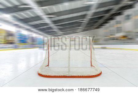 Hockey goal hockey net hockey rink ice hockey hockey arena ice rink indoors poster