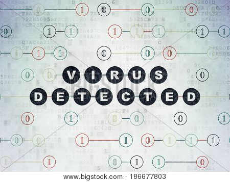 Security concept: Painted black text Virus Detected on Digital Data Paper background with Binary Code
