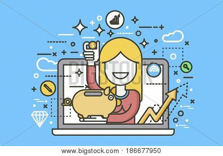 Stock vector illustration woman piggy bank in hands design element for financial education, banking, deposit saving discount online promotion marketing management line art style yellow background icon