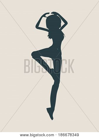 Silhouette of a dancing girl. Sexy women silhouette. Vector Illustration