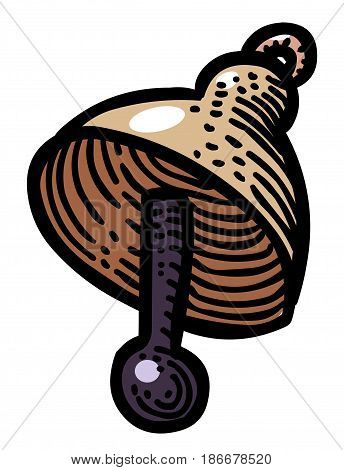 Cartoon image of Bell Icon. An artistic freehand picture.