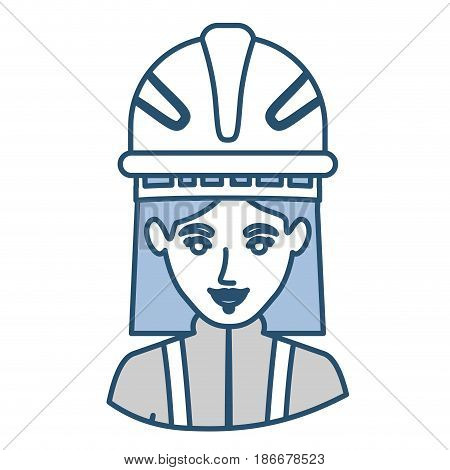 blue silhouette with half body of female firefighter vector illustration