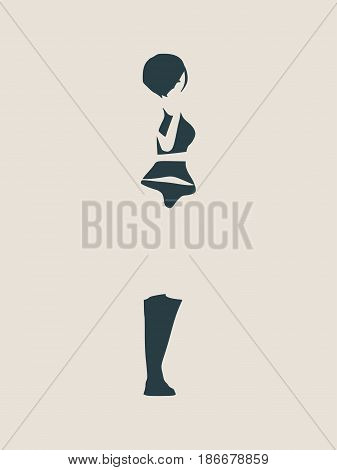 Silhouette of a girl who sends an air kiss Vector Illustration