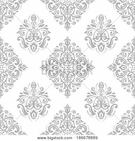 Damask classic light silver pattern. Seamless abstract background with repeating elements. Orient background
