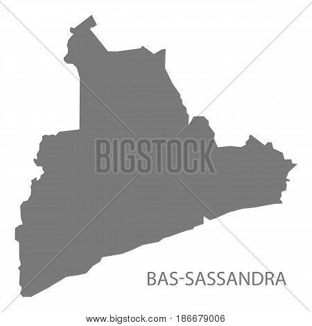 Bas-sassandra Ivory Coast Map Grey Illustration Silhouette