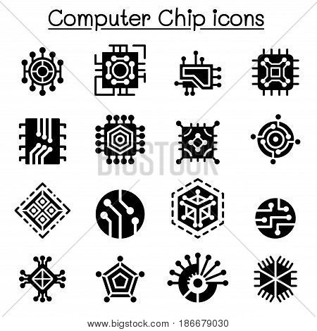 Computer Chips and Electronic Circuit icons vector illustration Graphic design