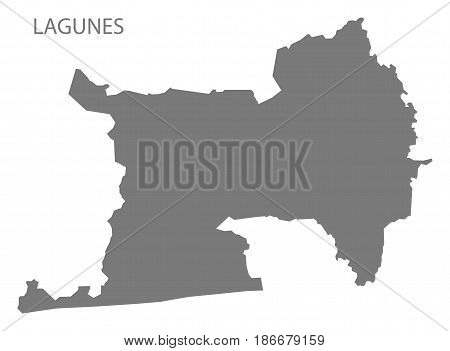 Lagunes Ivory Coast map grey illustration silhouette poster