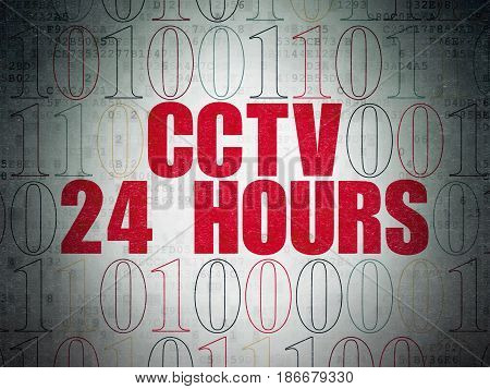 Privacy concept: Painted red text CCTV 24 hours on Digital Data Paper background with Binary Code