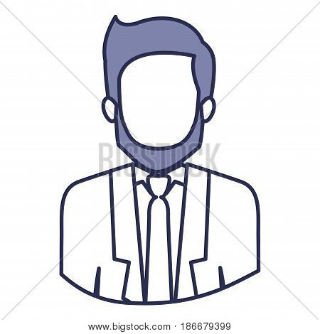 blue contour of half body of faceless man with beard and formal suit vector illustration