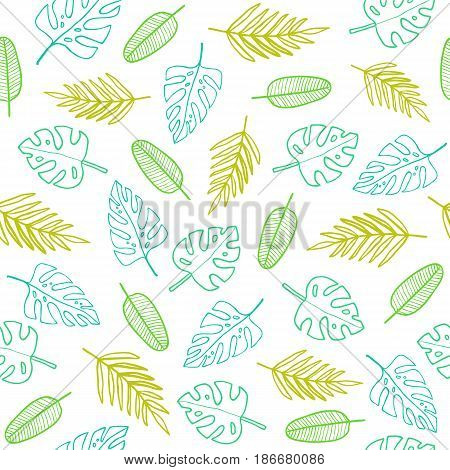 Simple outline leafs. Vector hand drawn seamless pattern