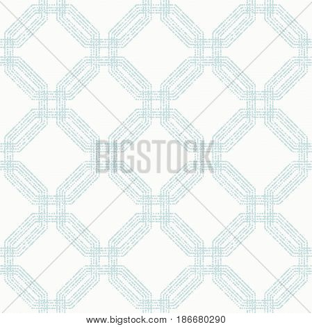 Geometric repeating ornament with light blue octagonal dotted elements. Geometric abstract ornament. Seamless abstract modern pattern