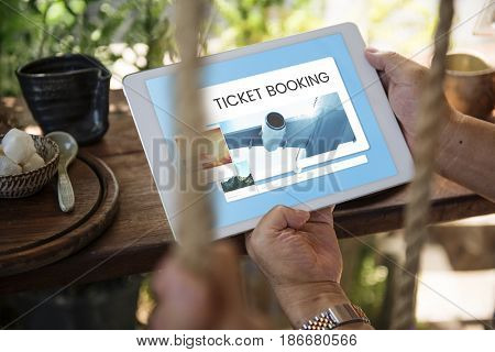 Illustration of air ticket booking for travel destination on digital tablet