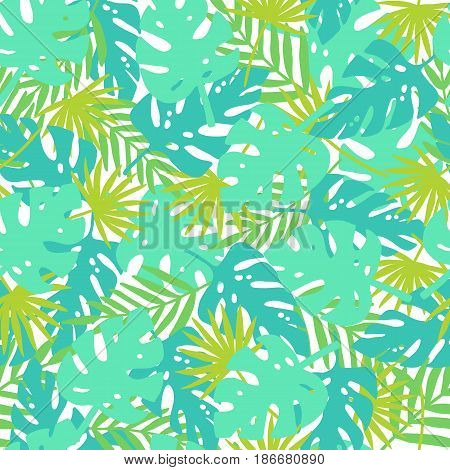 Bright tropical leaves. Vector hand drawn seamless pattern