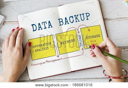 Data Connection Database Backup Graphic Diagram Words