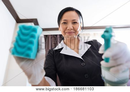 Nice job. Positive joyful l professional chambermaid holding a sponge and cleansing spray and working with it while being in a positive mood