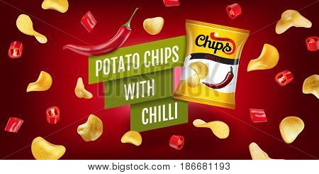Potato chips ads. Vector realistic illustration of potato chips with chilli. Horizontal banner with product.