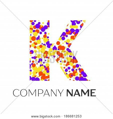Letter K logo with purple, yellow, red particles and bubbles dots on white background. Vector template for your design