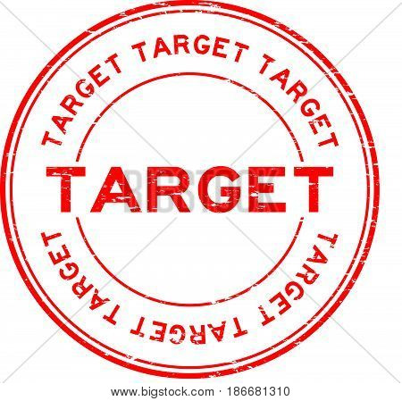 Grunge red target round rubber seal stamp on white background