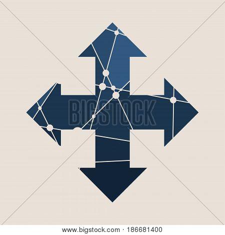 Arrow cross Web Icon in Flat Design with Long Shadows. Way choosing metaphor. Mosaic style silhouette