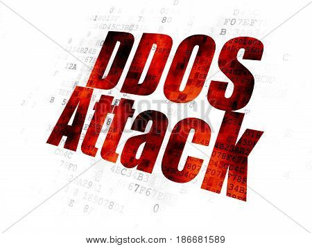 Protection concept: Pixelated red text DDOS Attack on Digital background