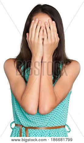 Woman portrait female closeup close-up fear scared