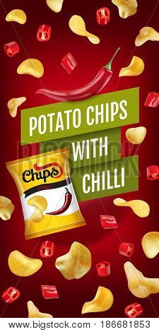 Potato chips ads. Vector realistic illustration with potato chips with chilli. Vertical banner with product.