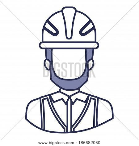 blue contour of half body of faceless male bearded architect with helmet vector illustration