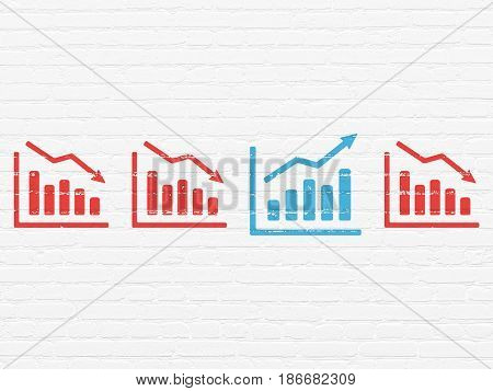 Finance concept: row of Painted red decline graph icons around blue growth graph icon on White Brick wall background