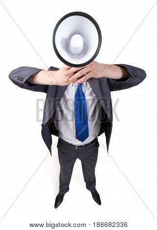 Megaphone businessman bullhorn male caucasian business person isolated on white