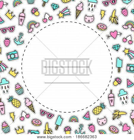 Card template Pop pins patches. Vector template.