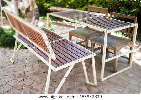 Outdoor Table And Chair In Garden stock photo