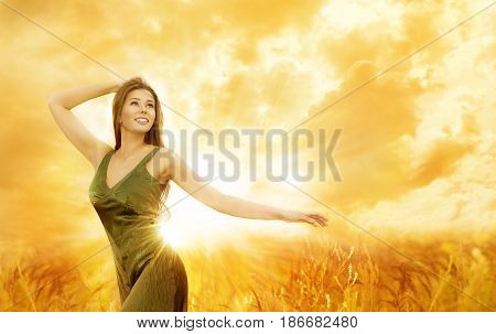 Woman Happy Day Girl Outdoor Lifestyle Beauty Model in Nature Turning over Sky Sunshine Background