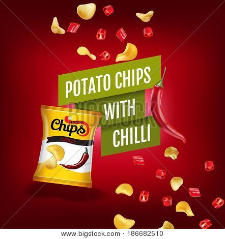 Potato chips ads. Vector realistic illustration with potato chips with chilli. Poster with product.