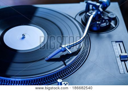 Turntable record music isolated spinning dj console vinyl