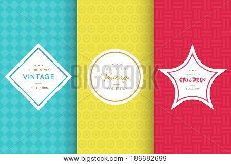 Bright seamless pattern background. Vector illustration bright design. Abstract geometric frame. Stylish decorative label set. Pale light color. Colorful geometric ornament. Feminine baby style