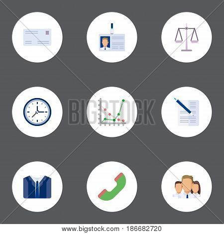 Flat Envelope, Id Card, Libra And Other Vector Elements. Set Of Career Flat Symbols Also Includes Scales, Team, Clock Objects.
