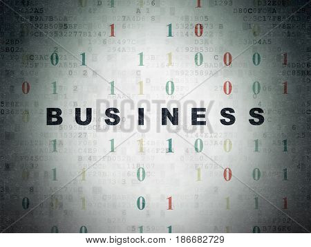 Finance concept: Painted black text Business on Digital Data Paper background with Binary Code