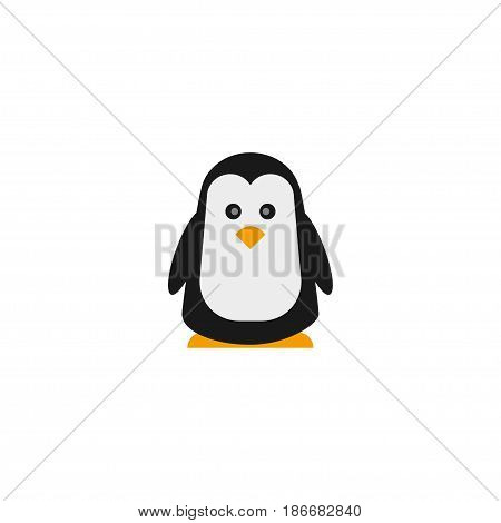 Flat Penguin Element. Vector Illustration Of Flat Polar Bird Isolated On Clean Background. Can Be Used As Penguin, Polar And Bird Symbols.