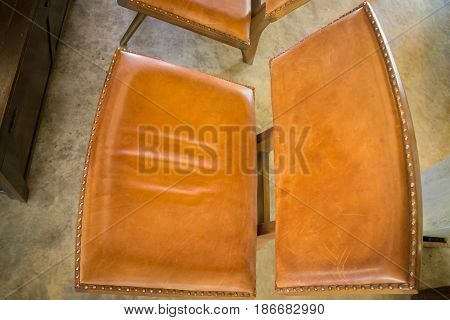 Vintage Brown Leather and Wood Chair stock photo