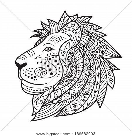 Hand drawn lion isolated on white background. Vector illustration for tattoo, poster, print t-shirt. Abstract hipster leo icon. Black and white colors. Ethnic head of doodle lion. Coloring pages book.